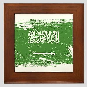 Grunge Saudi Arabia Flag Framed Tile