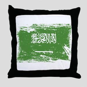 Grunge Saudi Arabia Flag Throw Pillow