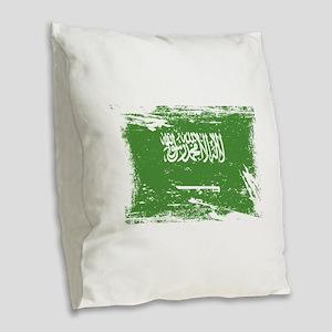 Grunge Saudi Arabia Flag Burlap Throw Pillow