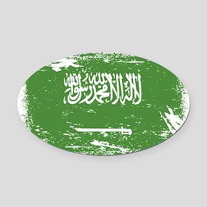 Grunge Saudi Arabia Flag Oval Car Magnet