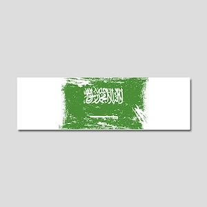 Grunge Saudi Arabia Flag Car Magnet 10 x 3