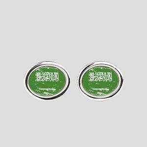 Grunge Saudi Arabia Flag Oval Cufflinks