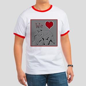 We Heart Elephants ~ Men's Ringer T-Shirt