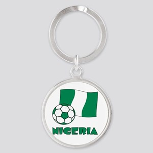 Nigeria Flag and Soccer Round Keychain