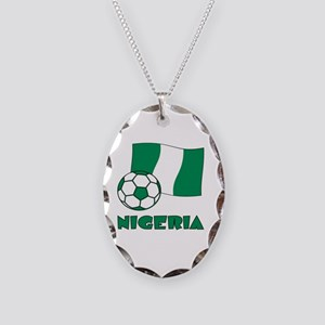 Nigeria Flag and Soccer Necklace Oval Charm