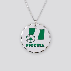Nigeria Flag and Soccer Necklace Circle Charm