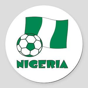 Nigeria Flag and Soccer Round Car Magnet
