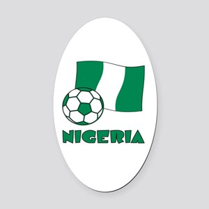Nigeria Flag and Soccer Oval Car Magnet