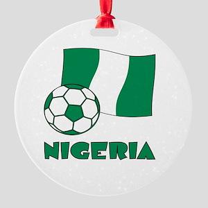 Nigeria Flag and Soccer Round Ornament