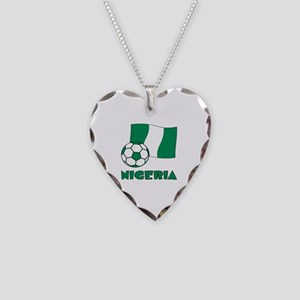 Nigeria Flag and Soccer Necklace Heart Charm