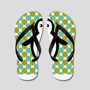 Penguin on Blue and Green Flip Flops