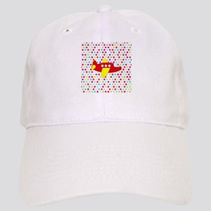Red and Yellow Airplane on Dots Baseball Cap