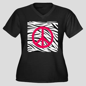 Hot Pink Peace Sign on Zebra Stripes Plus Size T-S
