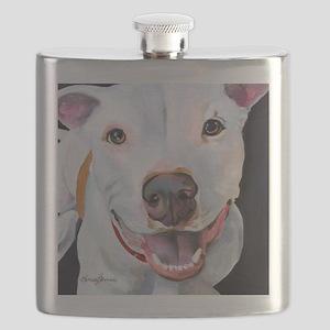 Charlie The Pitbull Dog Portrait Flask