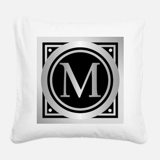 Deco Monogram M Square Canvas Pillow