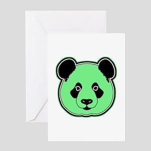 panda head lime Greeting Card