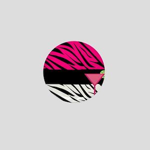 Pink Black Zebra Stripes Cocktail Mini Button