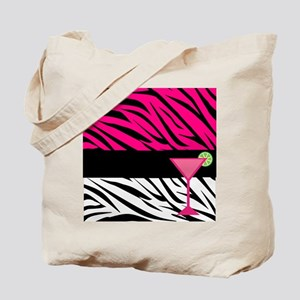 Pink Black Zebra Stripes Cocktail Tote Bag