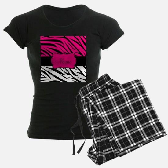 Pink Black Zebra Personalized Pajamas