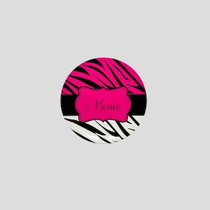 Pink Black Zebra Personalized Mini Button