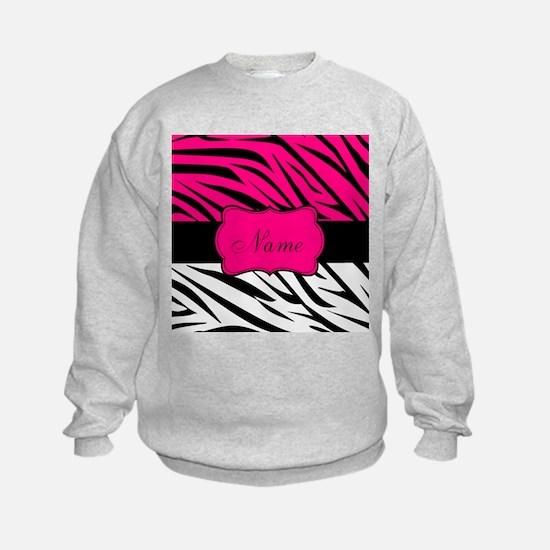 Pink Black Zebra Personalized Sweatshirt