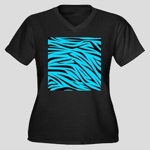 Teal and Black Zebra Stripes Plus Size T-Shirt
