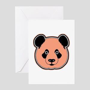 panda head peach Greeting Card