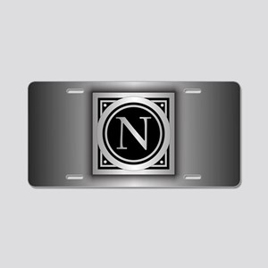 Deco Monogram N Aluminum License Plate