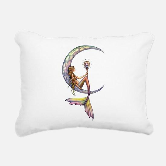 Mermaid Moon Fantasy Art Rectangular Canvas Pillow