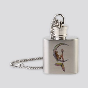 Mermaid Moon Fantasy Art Flask Necklace