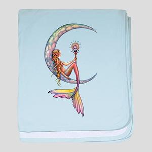 Mermaid Moon Fantasy Art baby blanket