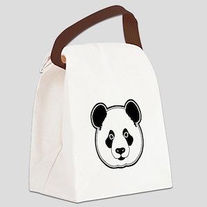 panda head white black Canvas Lunch Bag