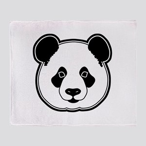 panda head white black Throw Blanket