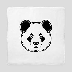 panda head white black Queen Duvet