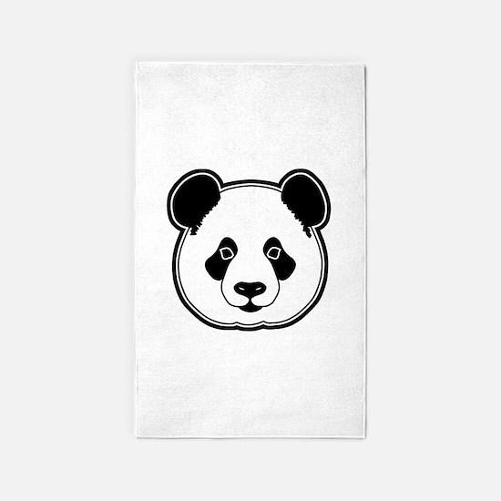 panda head white black 3'x5' Area Rug
