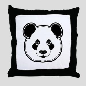panda head white black Throw Pillow