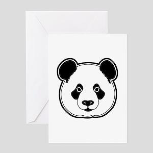 panda head white black Greeting Card