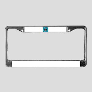 Black Car Teal Zebra Stripes License Plate Frame