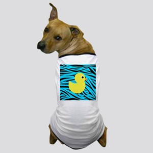 Yellow Duck on Teal Zebra Stripes Dog T-Shirt
