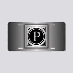 Deco Monogram P Aluminum License Plate