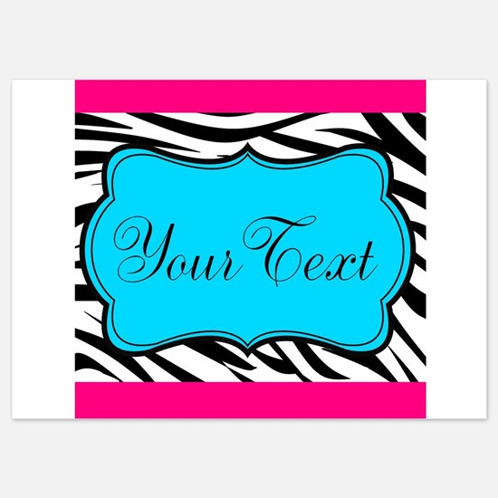 Personalizable Teal Hot Pink Zebra Invitations