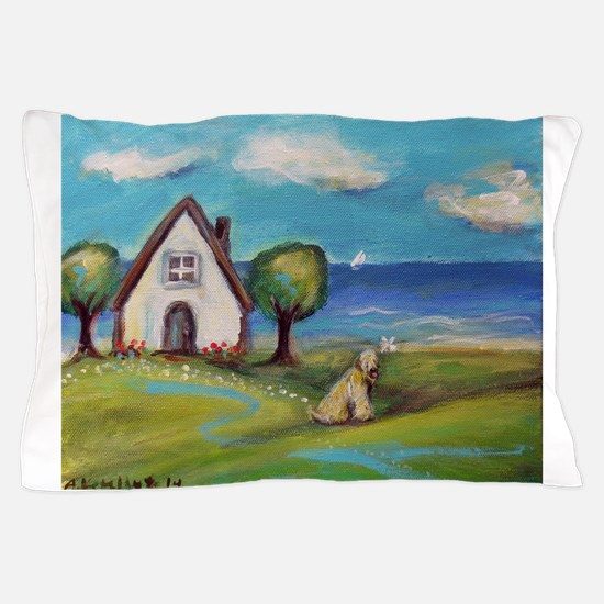 Soft Coated Wheaten Terrier Summer Cottage Pillow
