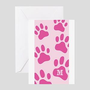 Personalize Monogram Pink Paws Greeting Card
