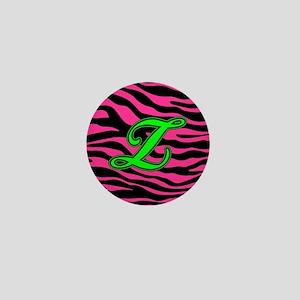 HOT PINK ZEBRA GREEN Z Mini Button
