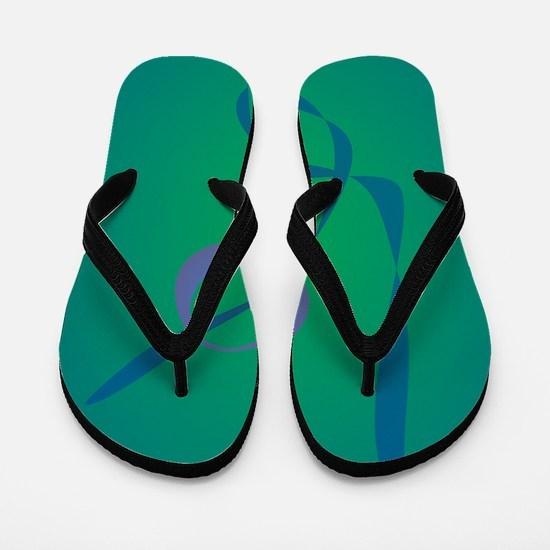 Abstract Rabbit Green Flip Flops
