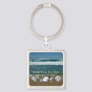 Original Seashell Customizable Art Square Keychain