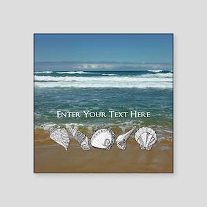"Original Seashell Customiza Square Sticker 3"" x 3"""