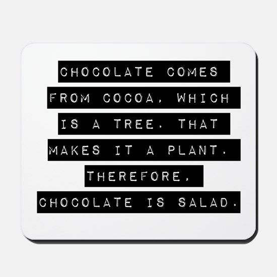 Chocolate Comes From Cocoa Mousepad