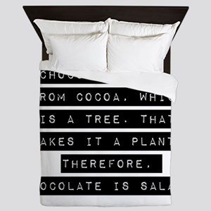 Chocolate Comes From Cocoa Queen Duvet
