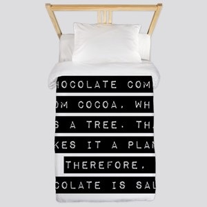 Chocolate Comes From Cocoa Twin Duvet